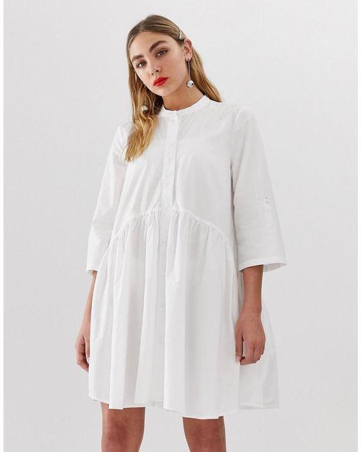 fd356db274e ONLY - White Smock Shirt Dress - Lyst ...