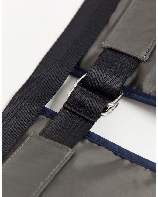 Marsupio grigio e blu con zip argentata di ASOS in Black da Uomo