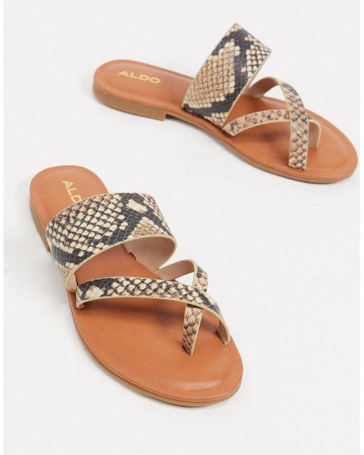 Sandales à entredoigt - Fauve ALDO en coloris Natural