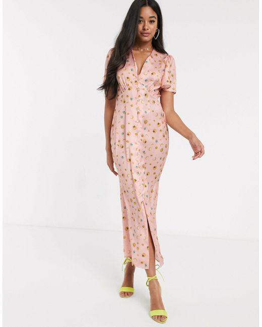 Платье Макси На Пуговицах Со Звездным Принтом -мульти Never Fully Dressed, цвет: Pink