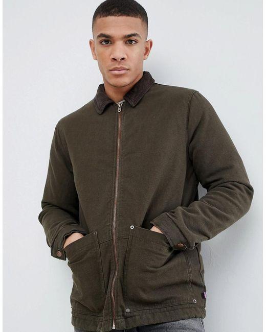 Pull&Bear - Green Cord Collar Jacket In Khaki for Men - Lyst