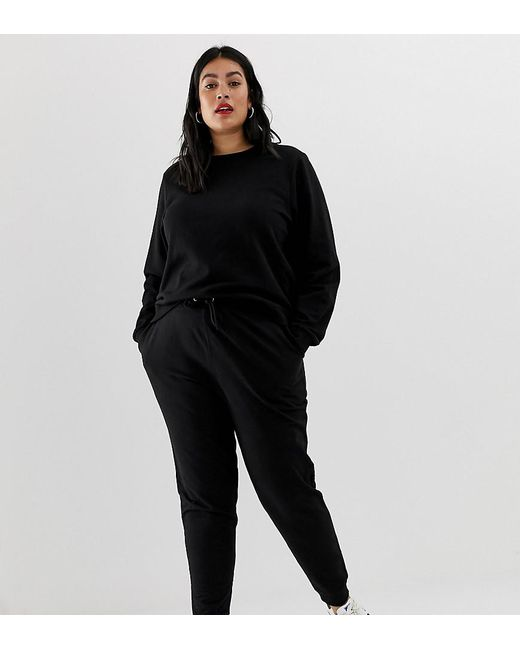 acheter en ligne aef51 e3513 Women's Black Asos Design Curve Ultimate Sweat And jogger With Tie Tracksuit