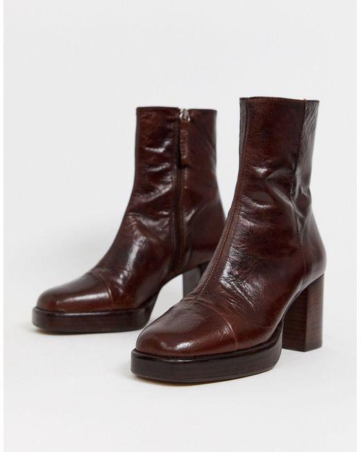Коричневые Кожаные Премиум-ботинки На Платформе ASOS, цвет: Brown