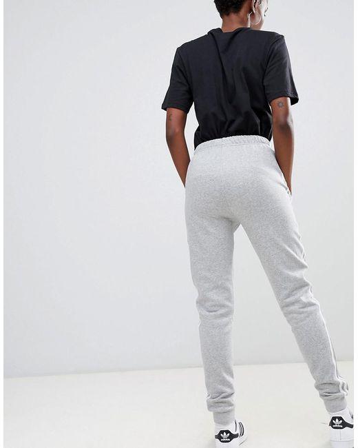 adidas Originals Three Stripe Cuffed Sweat Pants In Grey in