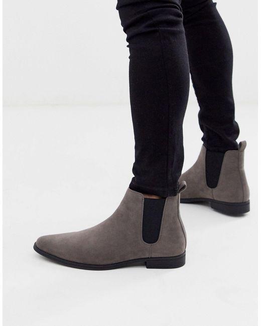 Серые Ботинки Челси Из Искусственной Замши ASOS для него, цвет: Gray