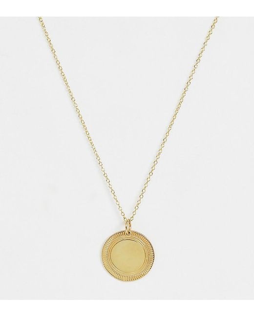 ASOS Metallic Sterling Silver With Gold Plate Necklace With Etched Disc Pendant