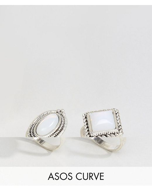 ASOS | Metallic Pack Of 2 Irridescent Stone Rings | Lyst