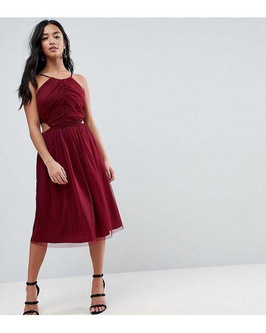 ASOS Hoogsluitende Midi-jurk Met Fijne Textuur En Uitsnijdingen Aan De Zijkanten in het Red