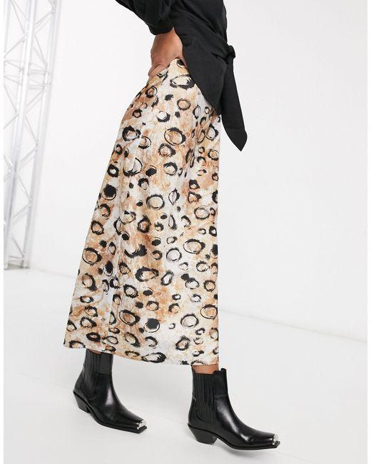 Атласная Юбка Миди С Леопардовым Принтом ASOS, цвет: Brown