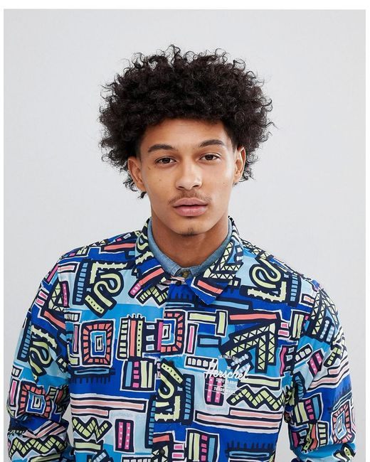 Herschel Supply Co. - Hoffman Collab Packable Coach Jacket With Back Print In Blue Abstract Print for Men - Lyst