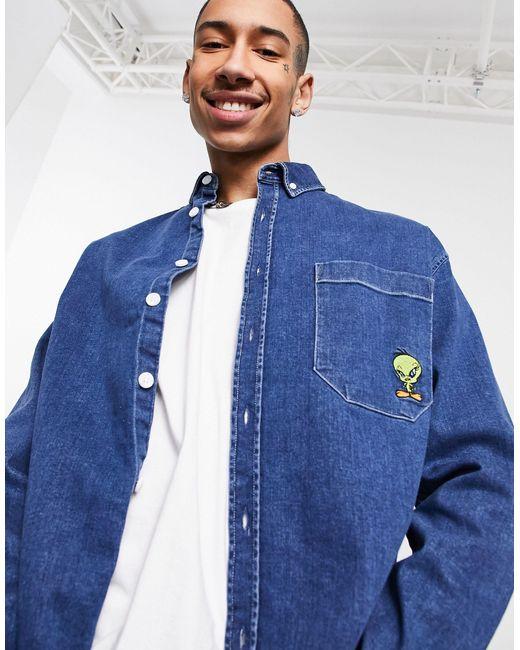 Camisa vaquera extragrande estilo años 90 con bordado ASOS de hombre de color Blue
