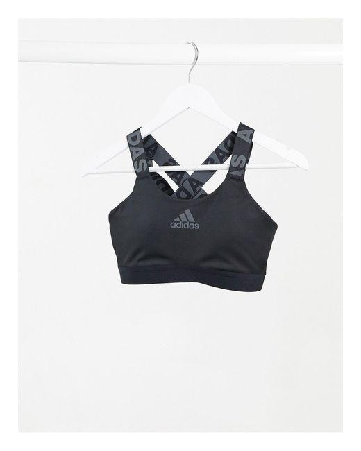 Черный Спортивный Бюстгальтер Adidas Training Adidas Originals, цвет: Black