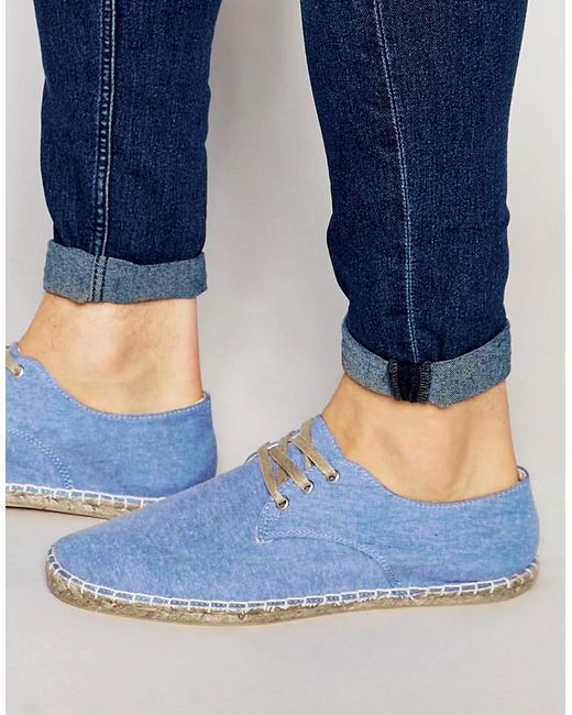 ASOS | Derby Espadrilles In Blue Chambray for Men | Lyst