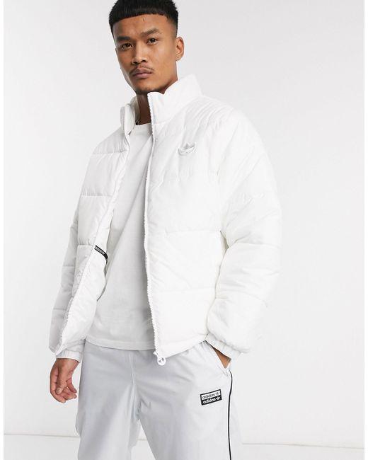 Cappotto imbottito bianco con colletto dritto di Adidas Originals in White da Uomo