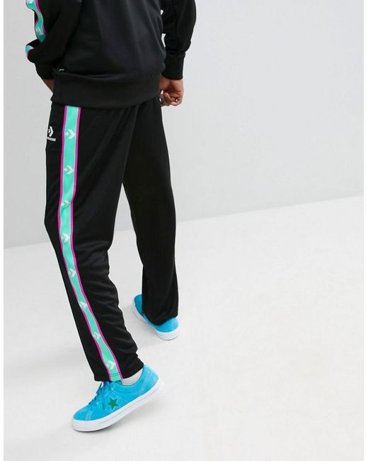 de225fe6 Men's Sweatpants With Taped Side Stripes In Black 10006733-a09