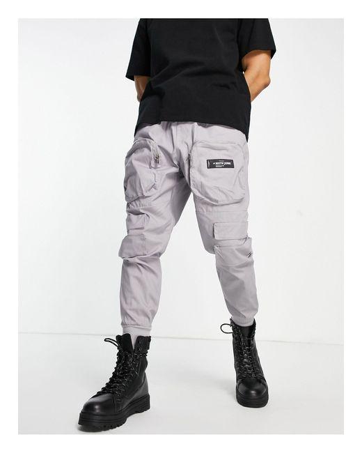 Pantaloni cargo con cerniera lampo frontale, colore grigio di Sixth June in Gray da Uomo