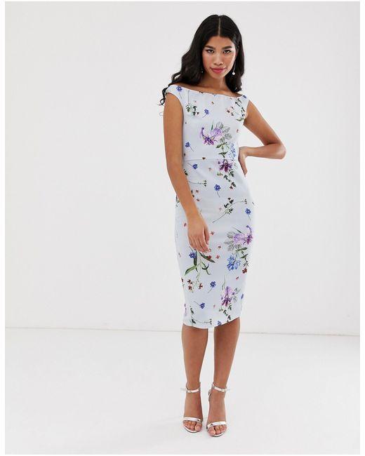 Платье Миди С Открытыми Плечами И Цветочным Принтом -мульти True Violet, цвет: Multicolor