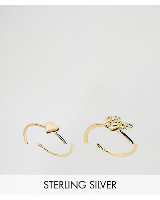 ASOS - Metallic Gold Plated Sterling Silver Pack Of 2 Heart & Rose Ring Pack - Lyst