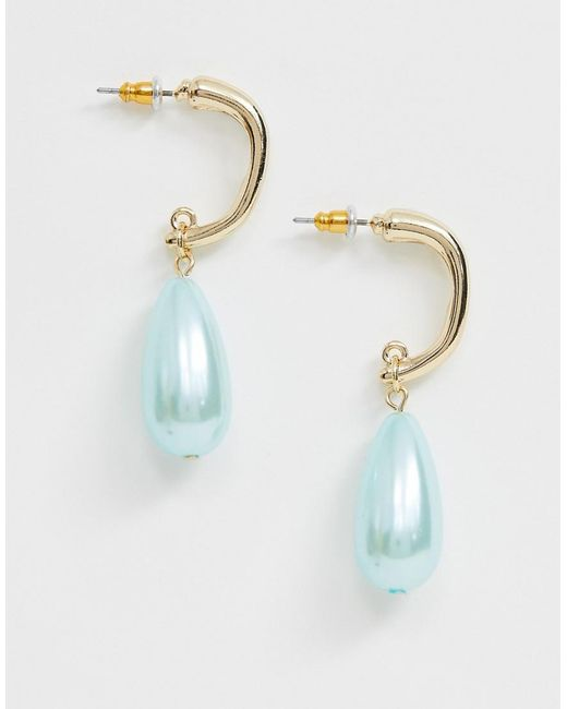 ASOS Metallic Earrings With Baby Blue Pearl Drop In Gold Tone
