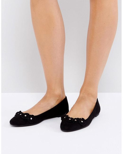 d79e6457cb6d3c London Rebel - Black Flower Trim Slipper Shoes - Lyst ...