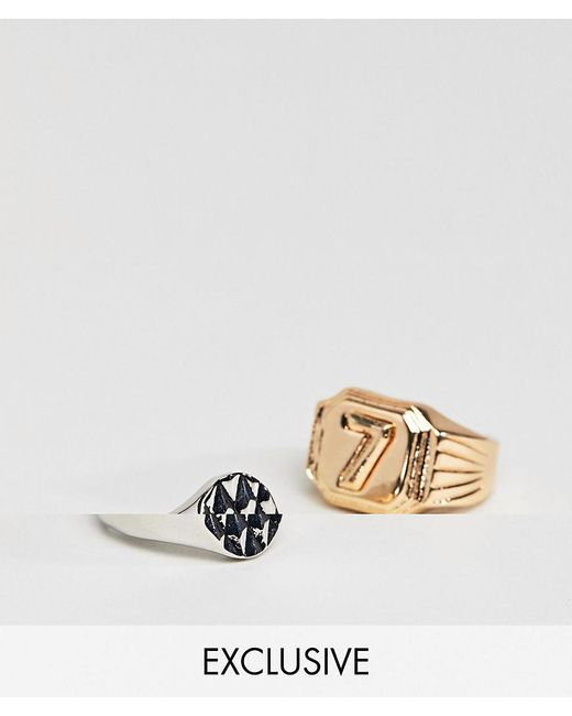 Reclaimed (vintage) - Metallic Inspired Lucky 7 Ring In 2 Pack Exclusive To Asos for Men - Lyst