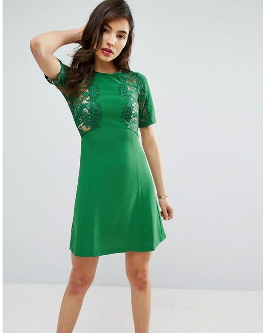 ASOS   Green Lace Insert Shift Dress   Lyst