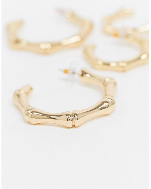 Набор Из 2 Золотистых Серег-колец ASOS, цвет: Metallic