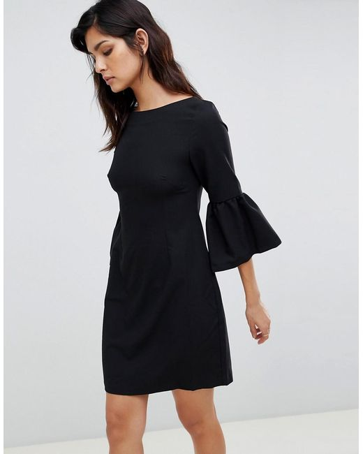 Vesper - Black Bell Sleeve Jacquard Midi Dress - Lyst