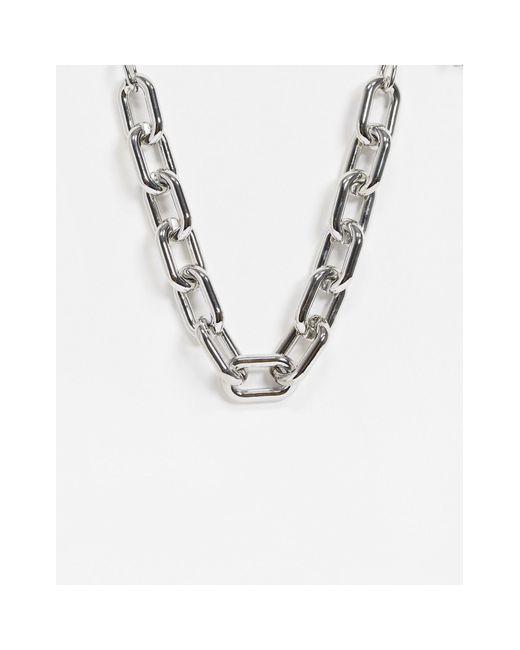 Серебристое Массивное Ожерелье-цепочка -серебристый Pieces, цвет: Metallic