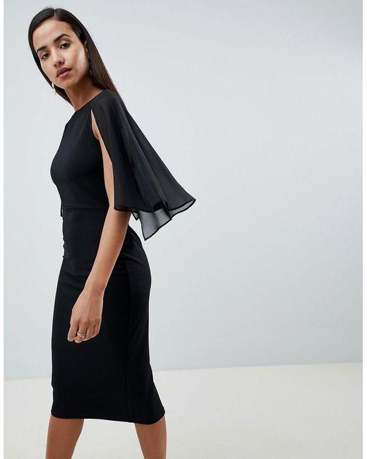 ASOS - Black Design Woven Mix Cape Back Pencil Dress - Lyst