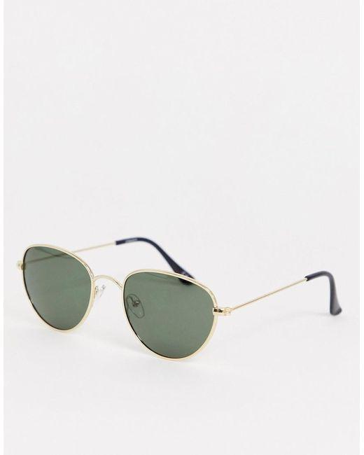 ASOS Metallic Round Metal Sunglasses With Polarised Lens