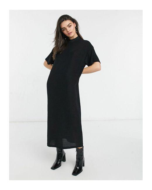Vestito lungo a maniche corte nero di Dr. Denim in Black