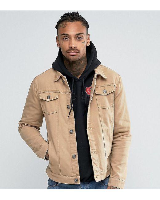 Liquor N Poker Brown Tan Denim Jacket for men