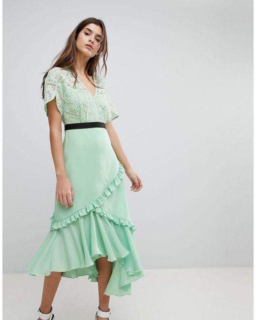 Three Floor Green Midi Dress With Lace Bodice