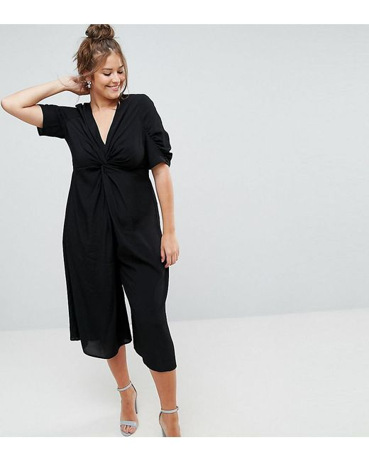 1d8b6fc2cf2 ASOS - Black Tea Jumpsuit With Knot Front - Lyst ...