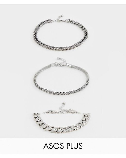 ASOS - Metallic Plus 3 Pack Chain Bracelet With Emboss In Burnished Silver Tone for Men - Lyst