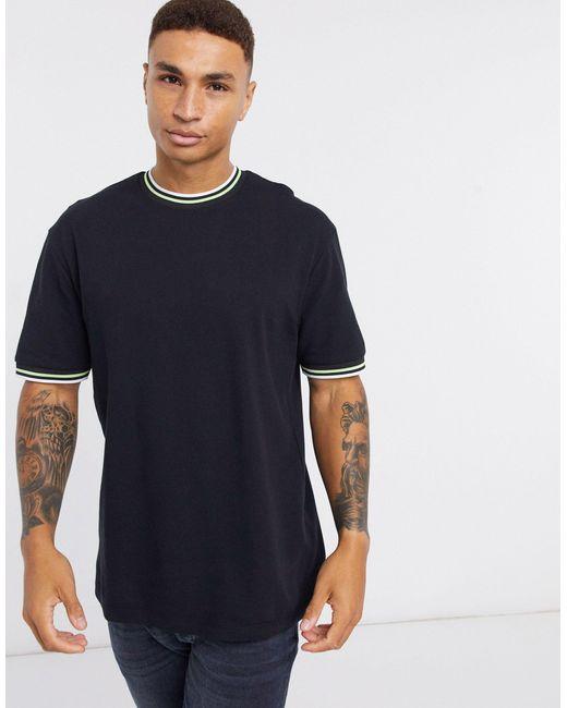 Camiseta extragrande con cuello ribeteado en negro Topman de hombre de color Black