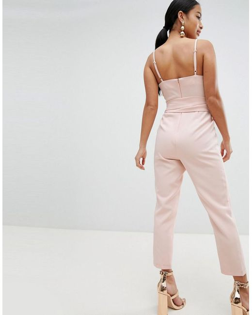 14104172d8a ... ASOS - Pink Asos Design Petite Wrap Front Jumpsuit With Peg Leg And Self  Belt -
