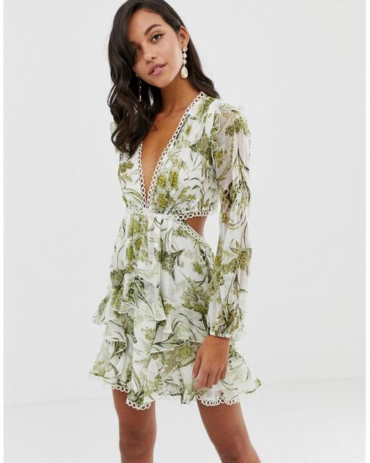 fd8d2206be2b ASOS - Green Long Sleeve Mini Dress In Floral Print With Cluster  Embellishment Detail And Circle ...