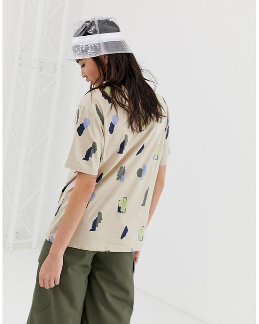 939229a1610 ... Monki - Natural Face Print Oversized T-shirt In Beige - Lyst