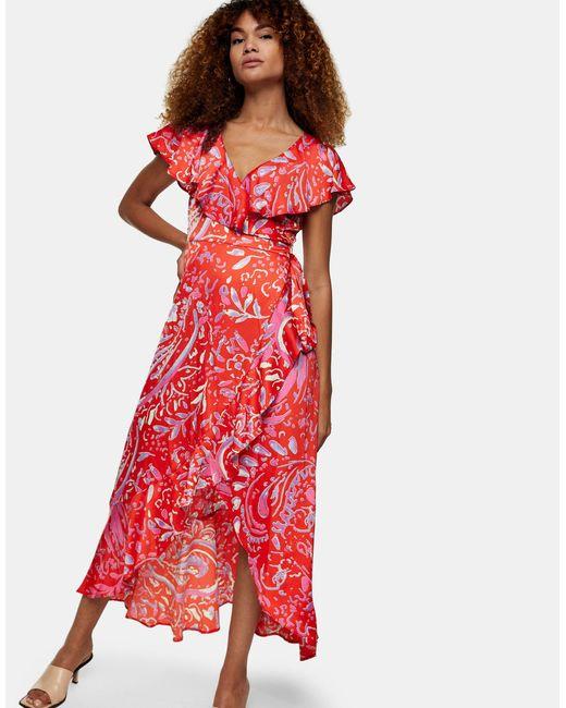 Красное Платье Миди С Запахом И Принтом -красный TOPSHOP, цвет: Red