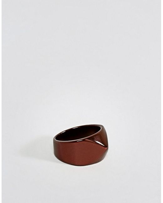 ASOS | Brown Geometric Signet Ring for Men | Lyst