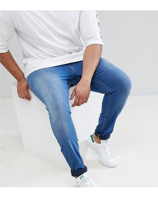 ASOS - Plus Super Spray On Jeans In Mid Blue for Men - Lyst