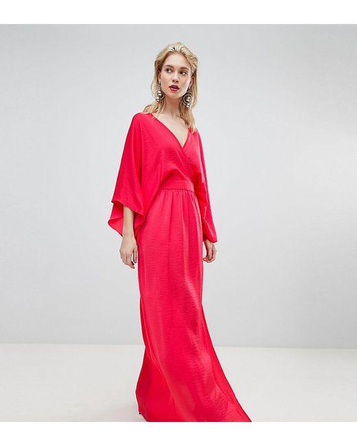 9c68c498e7 Flounce London - Orange Wrap Front Kimono Maxi Dress With Thigh Split -  Lyst ...