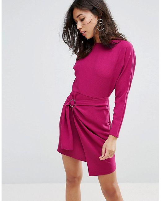 ced62a829da14b Robe courte avec jupe portefeuille et manches chauve-souris femme de  coloris violet