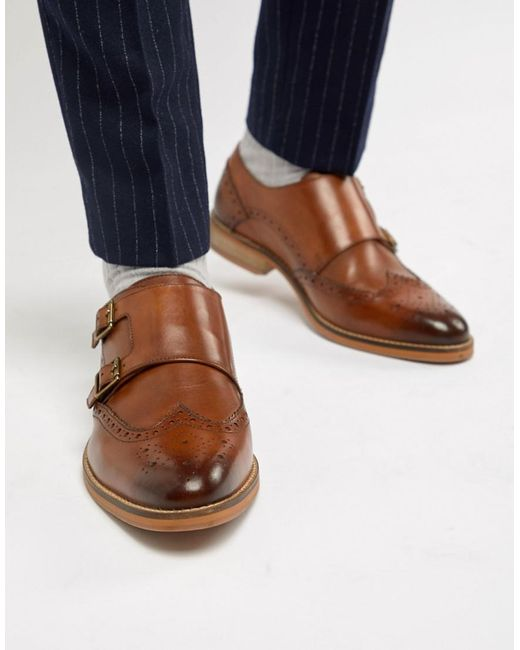 ASOS DESIGN Wide Fit monk shoes in leather with natural sole 2rUENt
