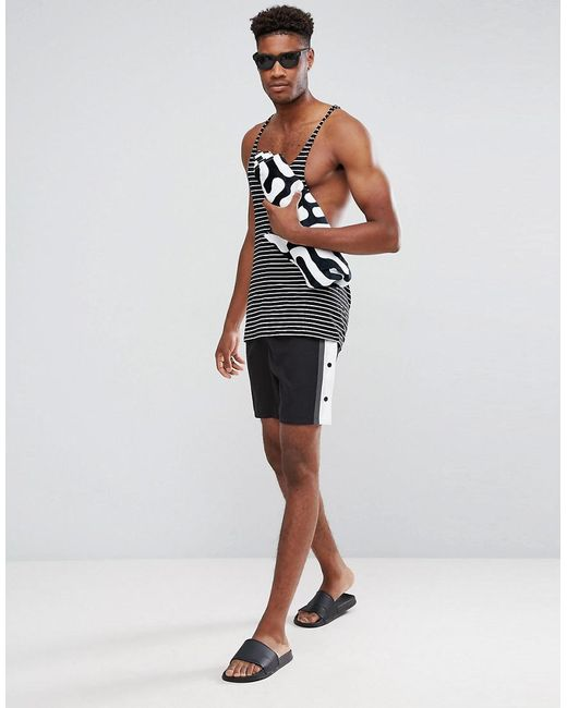 Cheap Wide Range Of TALL Swim Shorts In Monochrome With Side Poppers In Mid Length - Black Asos Cheap Real Outlet Largest Supplier 7Jloo0K9TM