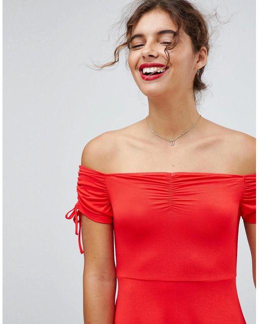Off Shoulder Sundress With Ruched Details - Red Asos Affordable PXeH9CEJ