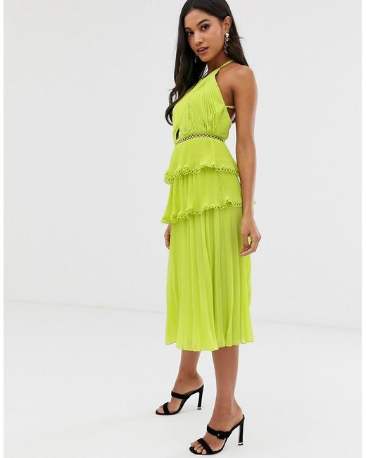 7e9fc73418ac ASOS - Green Midi Dress With Cross Front And Lace Trim Tiered Skirt - Lyst  ...