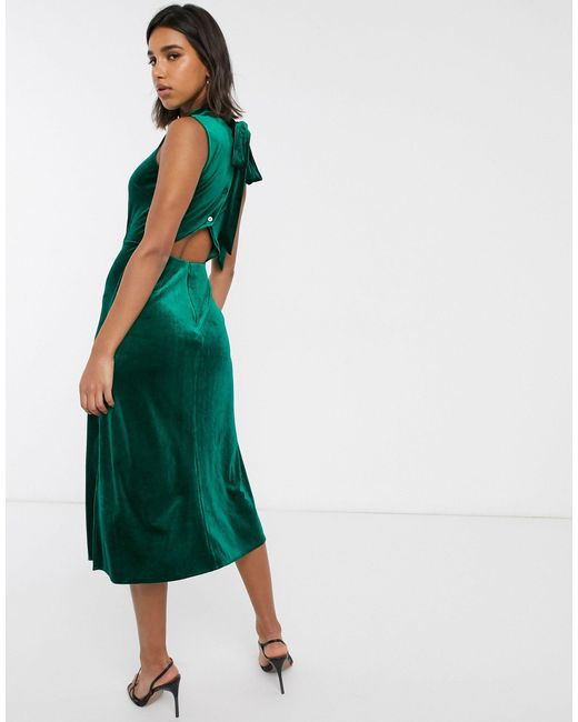 Зеленое Бархатное Платье С Высоким Воротом -черный Warehouse, цвет: Green